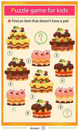Find a item that does not have a pair. Puzzle for kids. Matching game, education game for children. Holiday cakes. Pastry and bakery. Worksheet to develop attention.