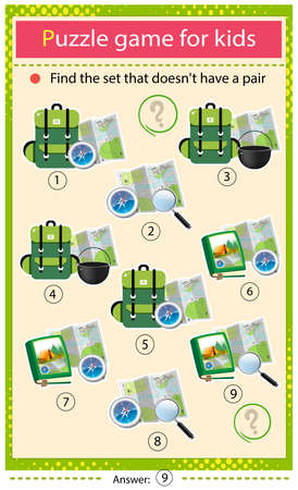 Find a tourist set that does not have a pair. Puzzle for kids. Matching game, education game for children. Backpack with bowler, map and compass. Worksheet to develop attention. Ilustrace