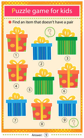 Find a item that does not have a pair. Puzzle for kids. Matching game, education game for children. Color images of holiday boxes, souvenirs and gifts. Worksheet to develop attention. Ilustrace