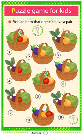 Find a item that does not have a pair. Puzzle for kids. Matching game, education game for children. Baskets of vegetables. Cabbage, beetroot, tomato, onion, eggplant. Worksheet to develop attention.