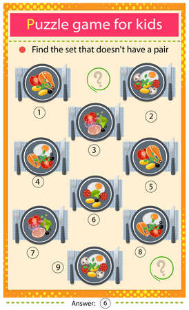 Find a set that does not have a pair. Puzzle for kids. Matching game, education game for children. Color image of portion lunch or dinner. Food and meals. Dishes and crockery. Worksheet to develop attention.