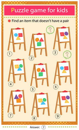 Find a easel that does not have a pair. Puzzle for kids. Matching game, education game for children. Geometric shapes. Square, circle, triangle, polygon, star. Worksheet to develop attention.