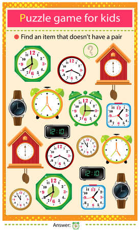 Find a item that does not have a pair. Puzzle for kids. Matching game, education game for children. Color set of watches. Alarm clock, wall clock with cuckoo, electronic timepiece, wristwatch. Worksheet to develop attention. Ilustrace