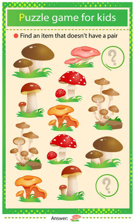 Find a item that does not have a pair. Puzzle for kids. Matching game, education game for children. Color set of mushrooms. Fly agaric, chanterelles, honey agaric. Worksheet to develop attention.