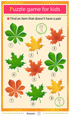 Find a item that does not have a pair. Puzzle for kids. Matching game, education game for children. Leaves of trees. Leaf of maple and chestnut. Worksheet to develop attention.