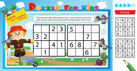 Solve the sudoku puzzle together with the bogeyman. Logic puzzle for kids. Education game for children. Worksheet vector design for schoolers. Vetores
