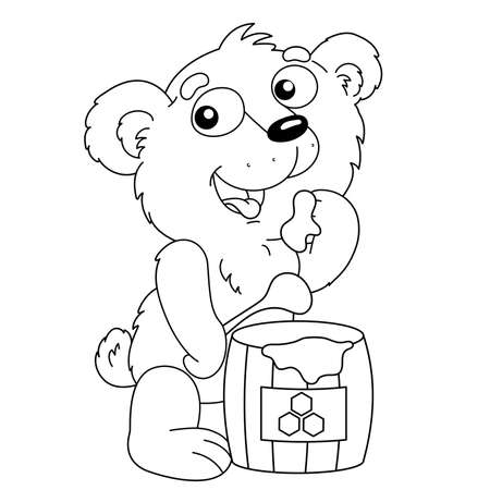 Coloring Page Outline Of cartoon little bear with barrel of honey. Coloring Book for kids.