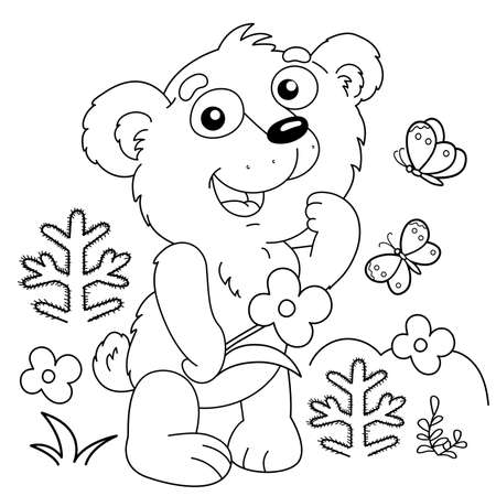 Coloring Page Outline Of cartoon little bear with the flower in forest. Coloring Book for kids. Vecteurs