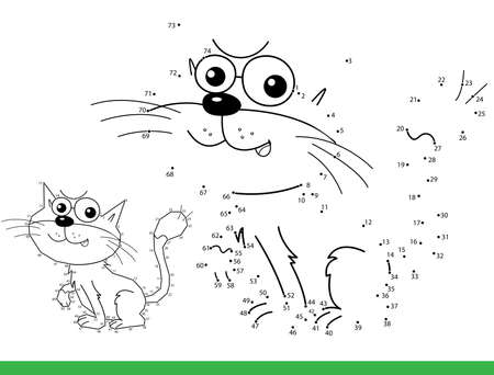 Puzzle Game for kids: numbers game. Coloring Page Outline of cartoon cat. Coloring Book for children. Иллюстрация