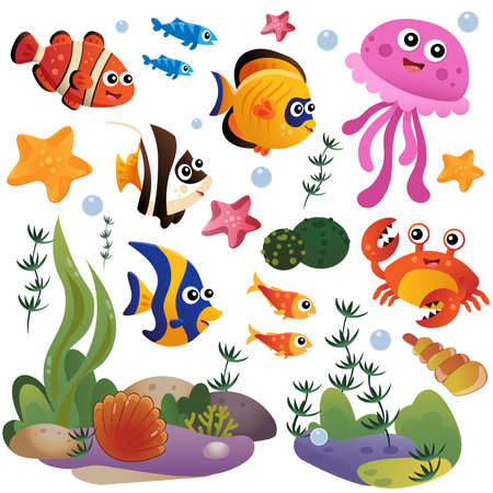 Cartoon marine inhabitants of the underwater world. Coral reef with little fishes, jellyfish, crab and sea star. Colorful vector set for kids. Ilustracje wektorowe
