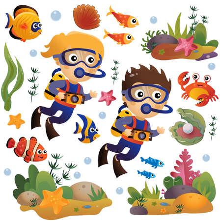 Cartoon little boy and girl scuba divers. Marine photography or shooting. Underwater world. Coral reef with fishes, pearl shells and sea star. Colorful vector set for kids.