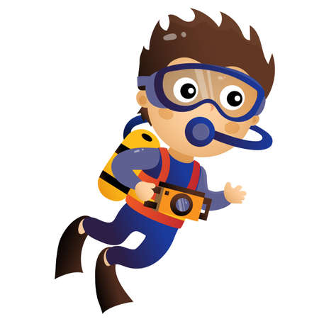 Cartoon little boy scuba diver. Marine photography or shooting. Underwater world. Colorful vector illustration for kids.