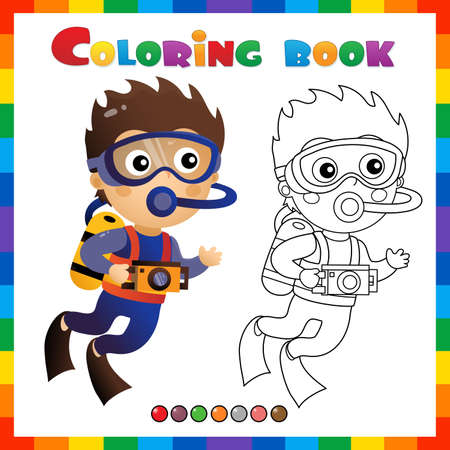 Coloring Page Outline of cartoon little boy scuba diver. Marine photography or shooting. Underwater world. Coloring Book for kids. Иллюстрация