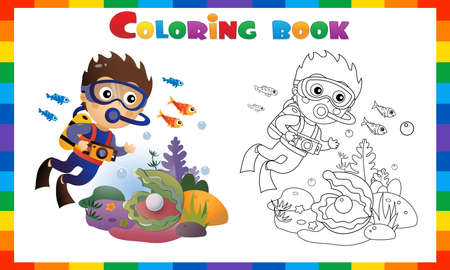 Coloring Page Outline of cartoon little boy scuba diver. Marine photography or shooting. Underwater world. Coral reef with fishes, pearl shells and sea star. Coloring Book for kids.