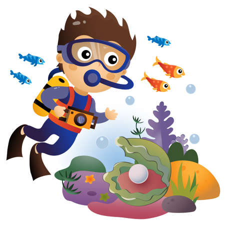 Cartoon little boy scuba diver. Marine photography or shooting. Underwater world. Coral reef with fishes, pearl shells and sea star. Colorful vector illustration for kids. Иллюстрация