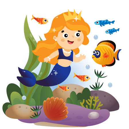 Cartoon beautiful little mermaid. Marine princess. Underwater world. Coral reef with fishes, pearl shells and sea star. Colorful vector illustration for kids. Иллюстрация