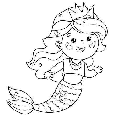 Coloring Page Outline of cartoon beautiful little mermaid. Marine princess. Underwater world. Coloring Book for kids. Иллюстрация
