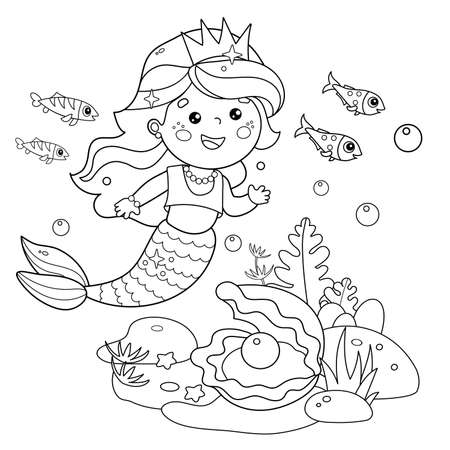 Coloring Page Outline of cartoon beautiful little mermaid. Marine princess. Underwater world. Coral reef with fishes, pearl shells and sea star. Coloring Book for kids.