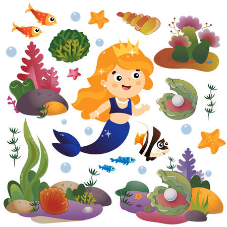 Cartoon beautiful little mermaid. Marine princess. Underwater world. Coral reef with fishes, pearl shells and sea star. Colorful vector set for kids.