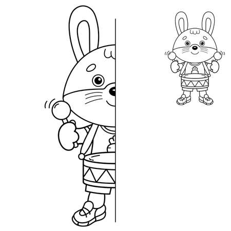 Draw symmetrically. Coloring Page Outline Of cartoon little bunny or hare with toy drum. Coloring Book for kids. Иллюстрация