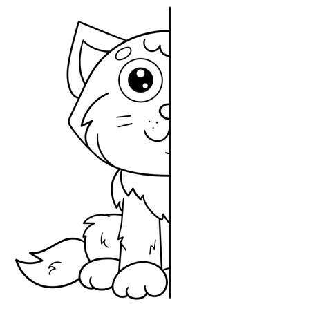 Draw symmetrically. Coloring Page Outline Of cartoon cute cat. Coloring Book for kids. Иллюстрация