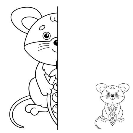 Draw symmetrically. Coloring Page Outline Of cartoon little mouse with pea pod. Coloring Book for kids.
