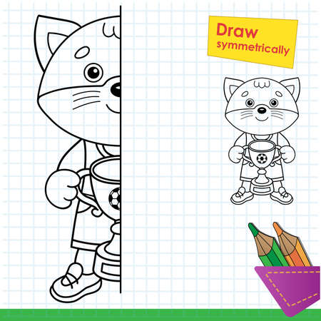 Draw symmetrically. Coloring Page Outline Of cartoon cat with soccer cup. Champion or winner of football game. Coloring Book for kids. Иллюстрация
