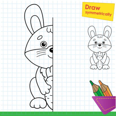 Draw symmetrically. Coloring Page Outline Of cartoon bunny or hare with carrot. Coloring Book for kids.
