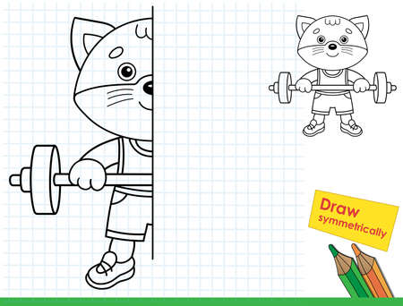 Draw symmetrically. Coloring Page Outline Of cartoon cat with barbell. Sport. Coloring Book for kids. Иллюстрация