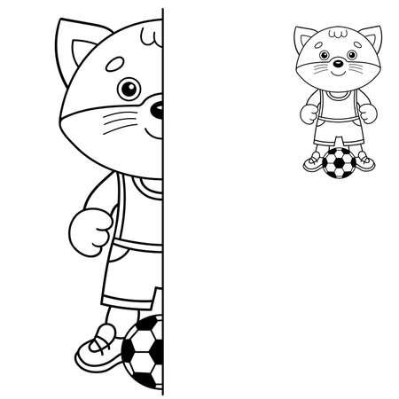 Draw symmetrically. Coloring Page Outline Of cartoon little cat with soccer ball. Football game. Coloring Book for kids. Иллюстрация