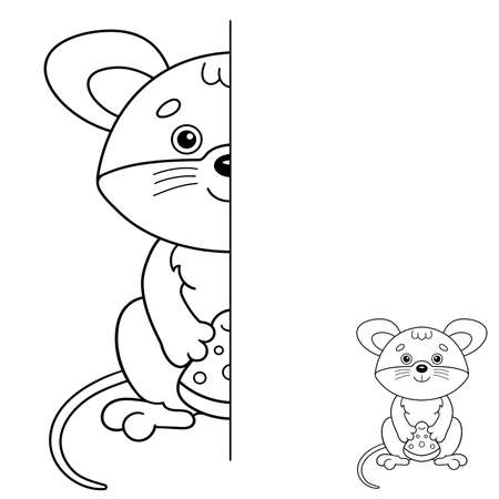 Draw symmetrically. Coloring Page Outline Of cartoon little mouse with cheese. Coloring Book for kids. Иллюстрация