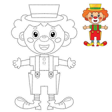 Connect the dots picture. Tracing worksheet. Puzzle for kids. Coloring Page Outline Of cartoon circus clown. Coloring book for children. Иллюстрация