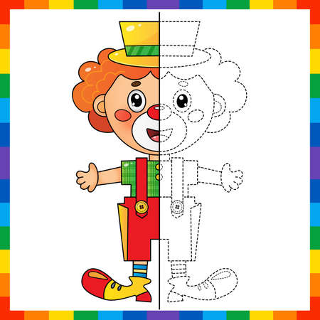 Draw symmetrically. Connect the dots picture. Tracing worksheet. Coloring Page Outline Of cartoon circus clown. Coloring Book for kids.