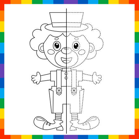 Draw symmetrically. Connect the dots picture. Tracing worksheet. Coloring Page Outline Of cartoon circus clown. Coloring Book for kids. Иллюстрация