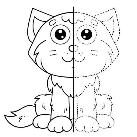 Draw symmetrically. Connect the dots picture. Tracing worksheet. Coloring Page Outline Of cartoon cute cat. Coloring Book for kids. Иллюстрация