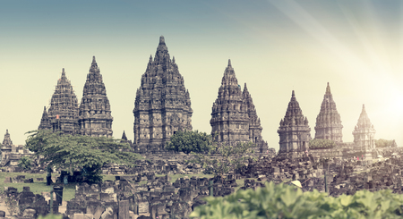 Prambanan temple complex. Java. Indonesia. Retro effect.   Stock Photo