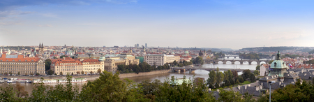 Panorama of the old Prague Bridges, the Czech Republic