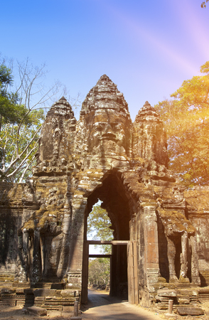 ruins of entrance gate of the temple (12th century), Siem Reap,  Cambodia Stock Photo