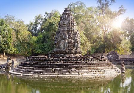 ruins of Neak Pean(12th Century) - religious architecture landmarks buildings complex near Siem Reap, Cambodia