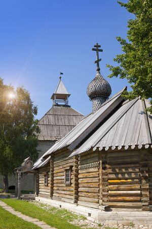 Russia. Old Ladoga. Saint great martyr Dmitry Solunsky church on territory of fortress.