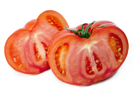 Two half of the cut tomato Imagens - 90077883