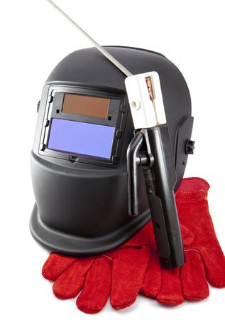 Masque de protection soudeur, électrode et gants sur fond blanc Banque d'images - 90077488