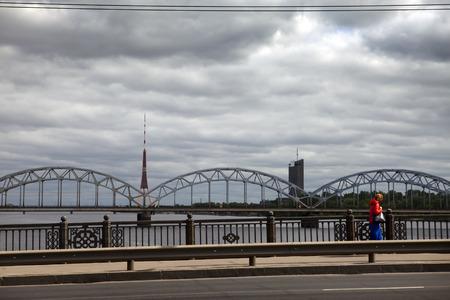 View on Railway Bridge over Daugava River in Riga, Latvia