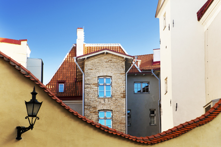 Medieval houses and roofs with a red tile in the old city of Tallinn. Stock fotó