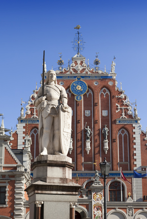 central Riga square with House of the Blackheads and monument of St. Roland, Latvia
