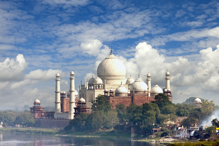 View of Taj Mahal across the river Yamuna. Agra, India.
