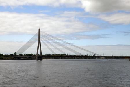 Vansu bridge over Daugava River in Riga, Latvia. Stock fotó
