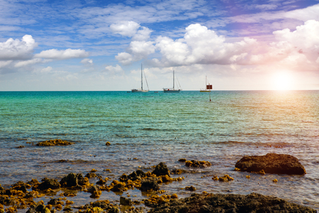 Fishing boats in the blue sea on the horizon and corals in waves in the foreground. Polynesia.