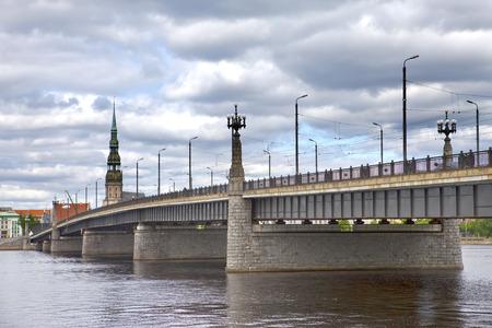 Bridge over Daugava River in Riga, Latvia