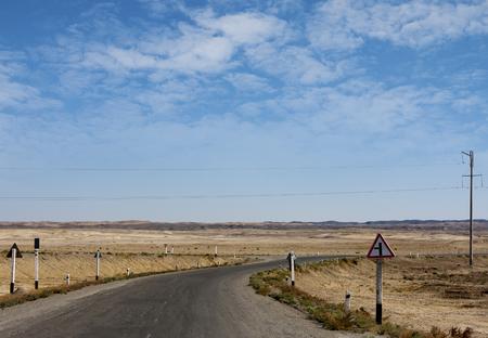 Uzbekistan. The automobile road in the Kyzylkum desert Stock fotó